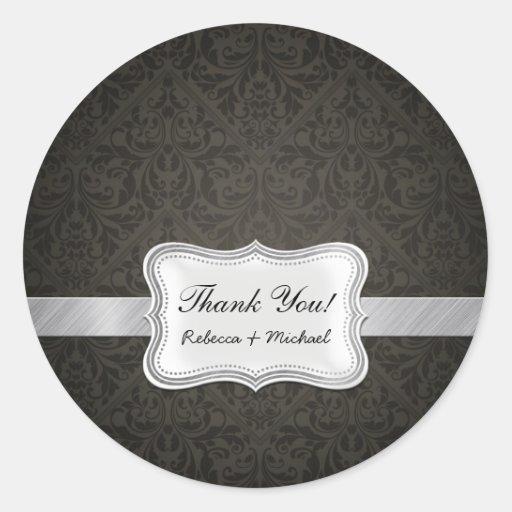 Merci noir et gris élégant de damassé adhésif rond