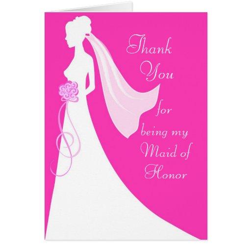 Merci pour être ma domestique d'honneur - rose cartes de vœux