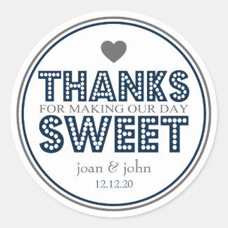 Merci pour faire notre bonbon à jour (bleu sticker rond