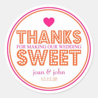 Merci pour faire notre bonbon à mariage autocollants ronds