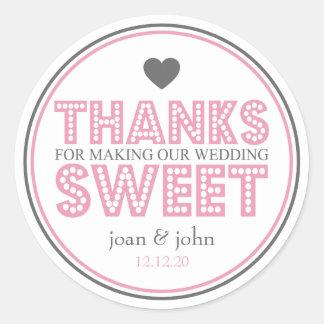 Merci pour faire notre bonbon à mariage sticker rond