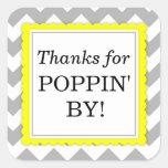 Merci pour Poppin par l'autocollant carré - Chevro