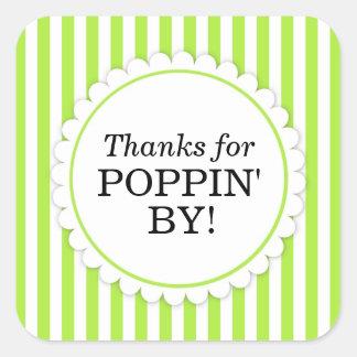 Merci pour Poppin par l'autocollant carré - Sticker Carré