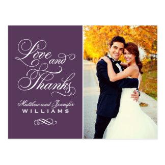 Merci pourpre de mariage d'amour et de mercis | carte postale