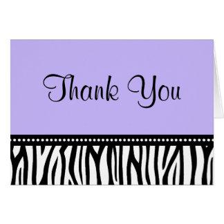 Merci pourpre et noir de zèbre cartes de vœux
