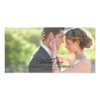 Merci pur de mariage d'élégance - noir cartes de vœux avec photo