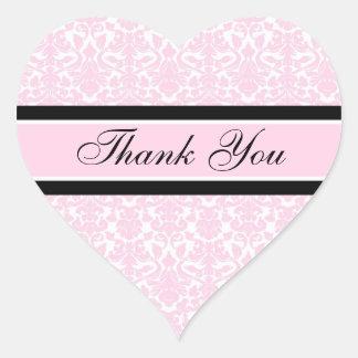 Merci rose de damassé épousant des joints d envelo autocollants en cœur