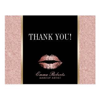 Merci rose de lèvres de scintillement d'or de carte postale