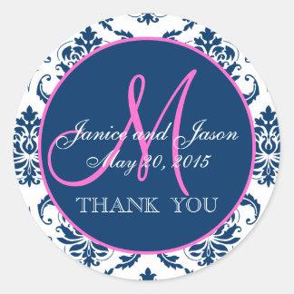 Merci rose et bleu de faveur de mariage damassé sticker rond