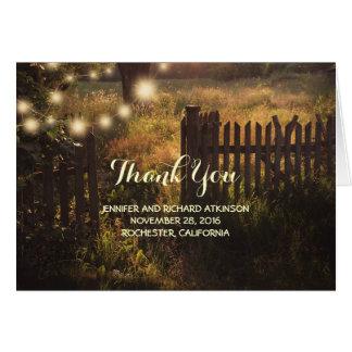 Merci rustique de mariage campagnard carte de correspondance