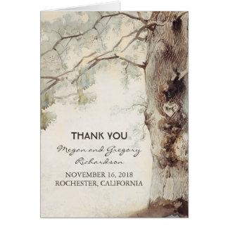 Merci rustique de mariage de vieil arbre carte de correspondance