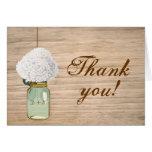 Merci rustique d'hortensia de pot de maçon de pays cartes de vœux