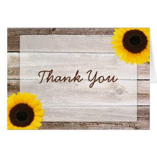 Merci rustique en bois de grange de tournesol carte de correspondance