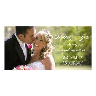 Merci simple de mariage cartes de vœux avec photo