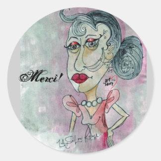 Merci! Sticker_Lady No. 3 Classic Round Sticker
