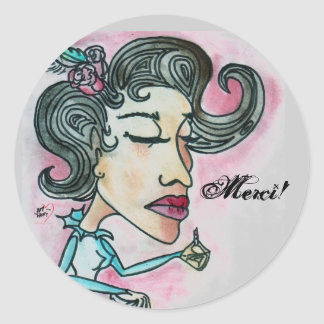 Merci! Sticker_Lady No.6 Classic Round Sticker