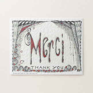 """Merci - Thank You"" Jigsaw 8x10 or 11x14 Jigsaw Puzzle"