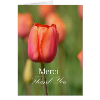 Merci Thank You Pink Tulip Card