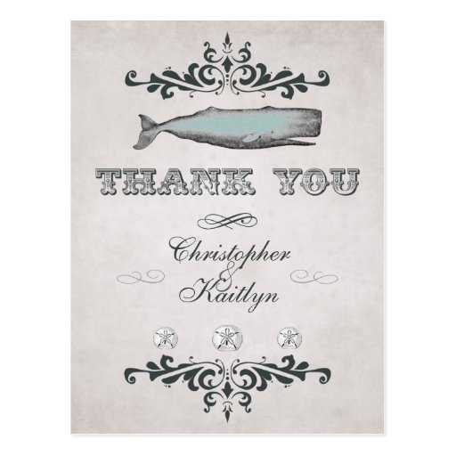 Merci victorien vintage de mariage de baleine de p cartes postales
