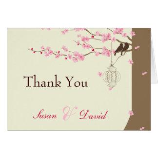 Merci vintage de fleurs de cerisier de cage d'insé cartes de vœux