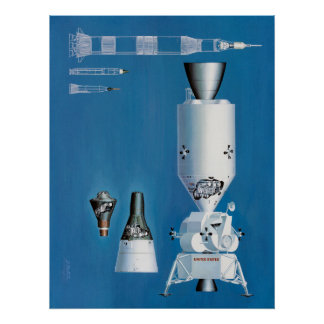 Mercury, Gemini and Apollo Spacecraft Poster