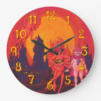 Mercury Hotties and a Caped Pig Large Clock
