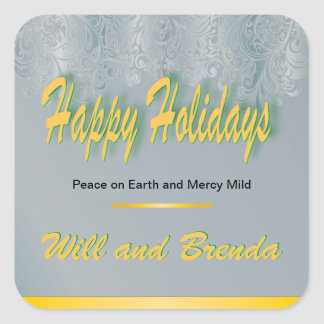 Mercy Mild Damask Happy Holidays Square Sticker