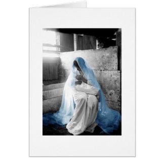 Mère bleue Mary de voile et enfant Carte De Vœux