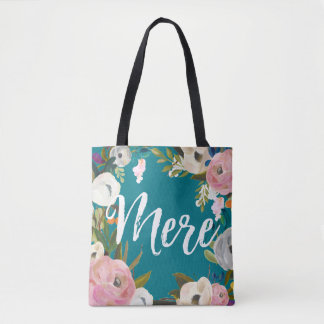 Mere Brushed Floral Wedding Party  Custom Name Tote Bag