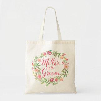 Mère de l'aquarelle Wreath5 floral de marié Sac En Toile Budget