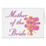Mère de l'or et du bouquet de jeune mariée carte de vœux