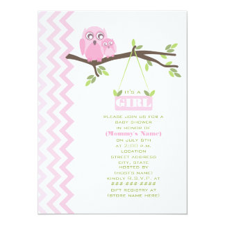 Mère de rose de baby shower de fille et hibou de carton d'invitation  13,97 cm x 19,05 cm