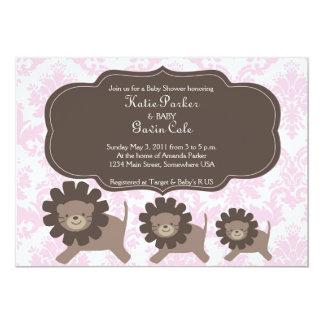 Mère de rose et de Brown et lion de bébés/tigre Carton D'invitation 12,7 Cm X 17,78 Cm