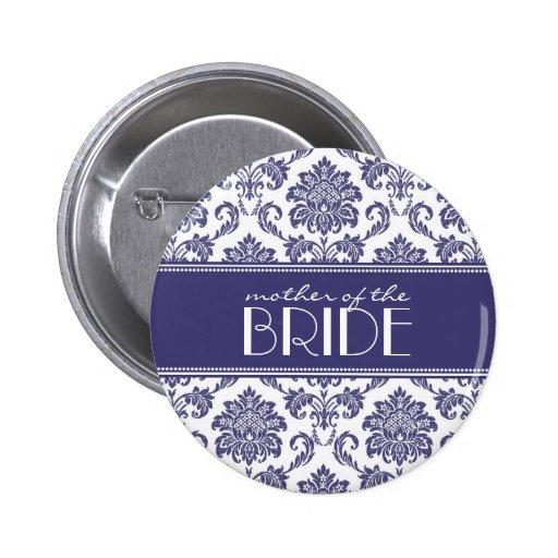 Mère du bouton de damassé de jeune mariée dans le  badge avec épingle