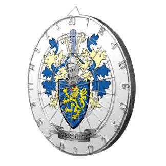 Meredith Family Crest Coat of Arms Dartboard