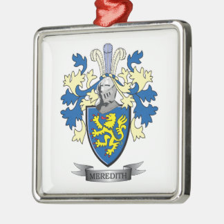 Meredith Family Crest Coat of Arms Silver-Colored Square Ornament