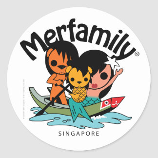 Merfamily® Singapore Sampan Classic Round Sticker