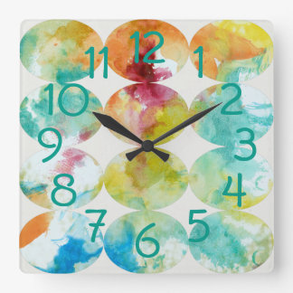 Merging Color II Square Wall Clock