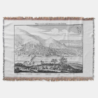 MERIAN: Heidelberg Castle and Old City (1620) Throw Blanket