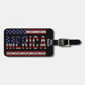 MERICA - American Pride Slang USA Flag Luggage Tag