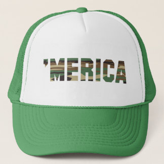 'MERICA Camo Font Trucker Hat (green)