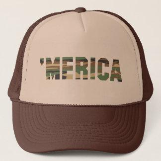 'MERICA Camo Trucker Hat (brown & tan)