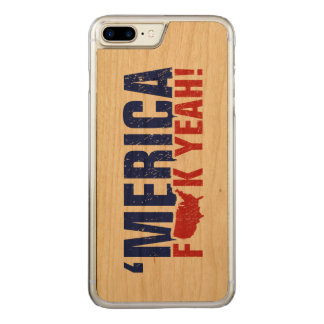 'Merica Fck Yeah! Red and Blue Carved iPhone 8 Plus/7 Plus Case