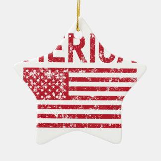 Merica Flag Ceramic Star Ornament
