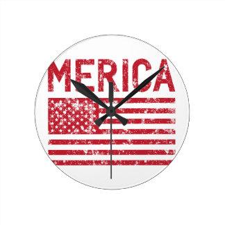 Merica Flag Round Clock