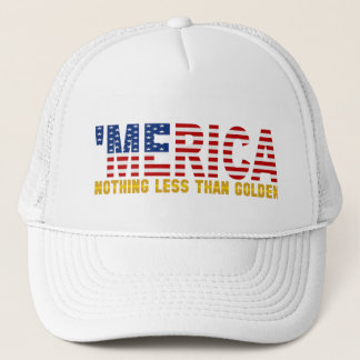 "'MERICA ""Nothing Less Than Golden"" USA Flag Hat"