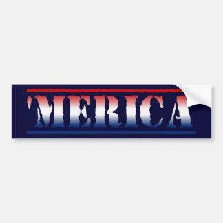 'MERICA Red White & Blue Bumper Sticker
