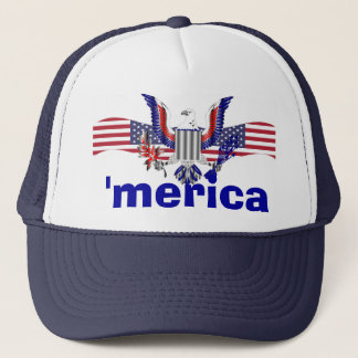 'merica text with eagle & American flag Trucker Hat