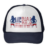 Merica text with flag & girls mesh hat