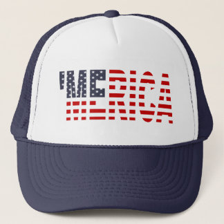 'MERICA US Flag Trucker Hat (original-blue)